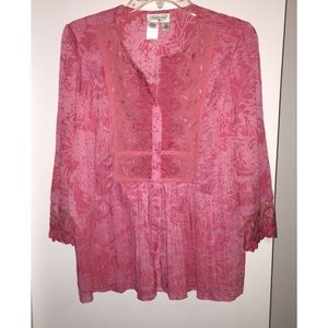 Cold water Creek PinkBlouse, Lace